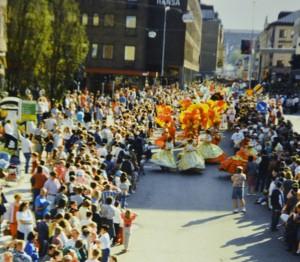 Gatukarnevalen i Norrköping i slutet av 1980-talet var en av de största i Sverige.